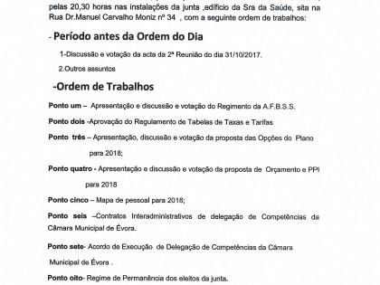 Edital  Reunião Ordinária de 21 de Dezembro