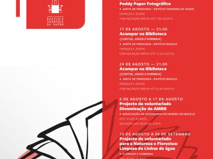 Programa no mês de Agosto no Pólo de Leitura Pública