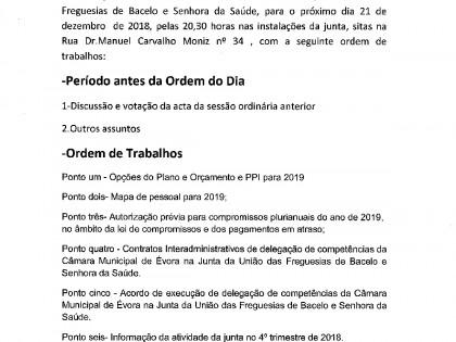 Edital Reunião ordinária de 21 de Dezembro de 2018 – Assembleia de Freguesia