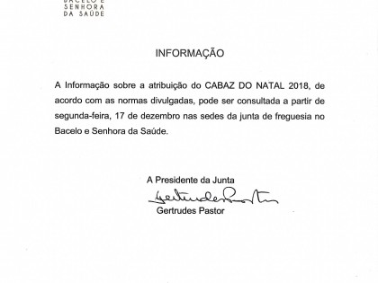 Informação sobre a atribuição de cabaz de natal 2018