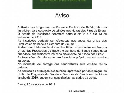 AVISO – Abertura de Inscrições para ocupação de talhões na Horta das Pites