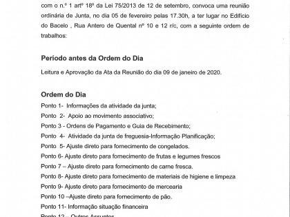 Edital Reunião ordinária de 05 de Fevereiro 2020