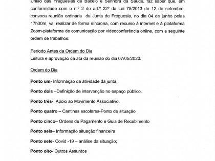 Edital Reunião ordinária de 04 de Junho 2020