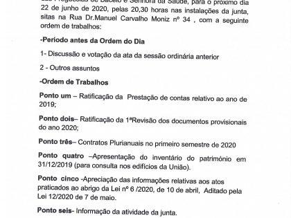 Edital Reunião ordinária de 22 de Junho de 2020 – Assembleia de Freguesia