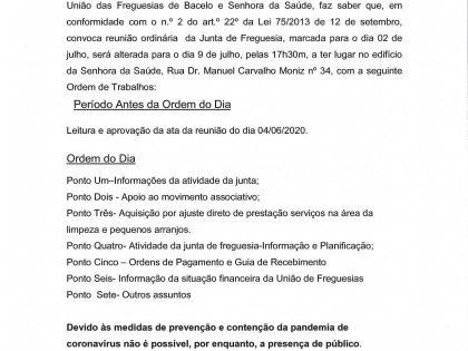 Edital Reunião ordinária de 09 de Julho 2020