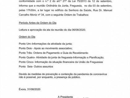 Edital Reunião ordinária de 03 de Setembro 2020