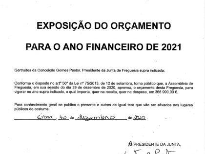 Exposição do orçamento para o ano financeiro de 2021