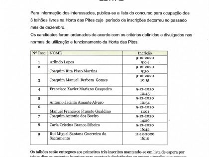 Torna-se pública a lista ordenada para os três talhões livres da Horta das Pites