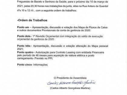 Edital Reunião ordinária de 10 de Março de 2021 – Assembleia de Freguesia